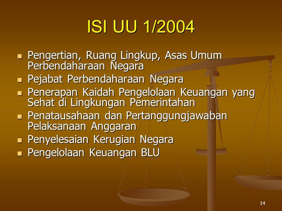ISI UU 1/2004 Pengertian, Ruang Lingkup, Asas Umum Perbendaharaan Negara. Pejabat Perbendaharaan Negara.