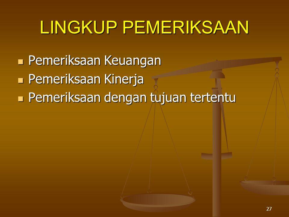 LINGKUP PEMERIKSAAN Pemeriksaan Keuangan Pemeriksaan Kinerja