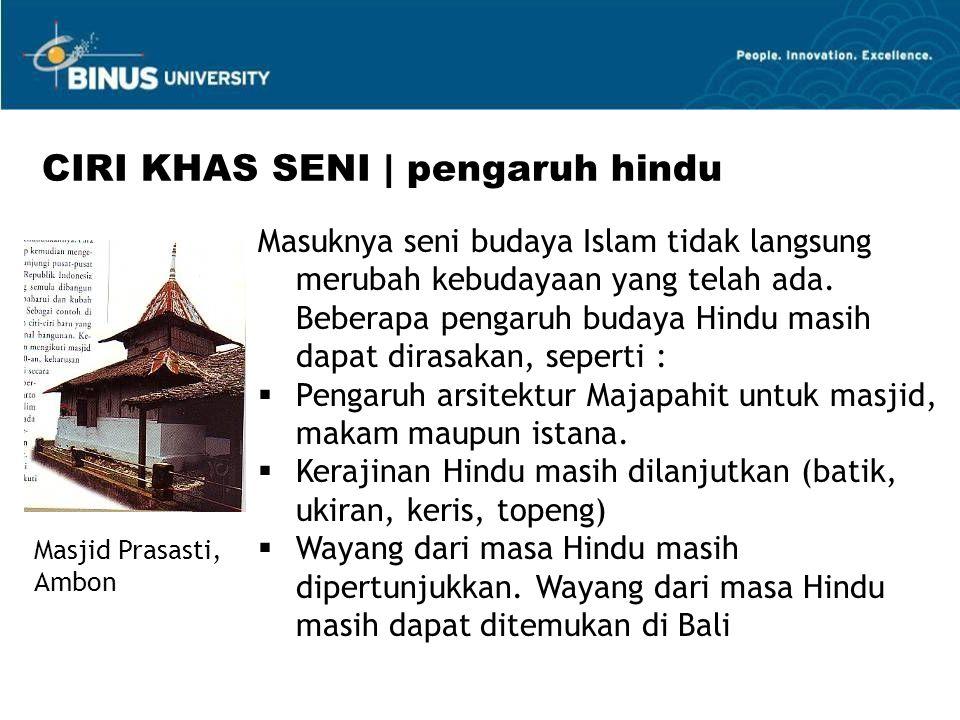 CIRI KHAS SENI | pengaruh hindu