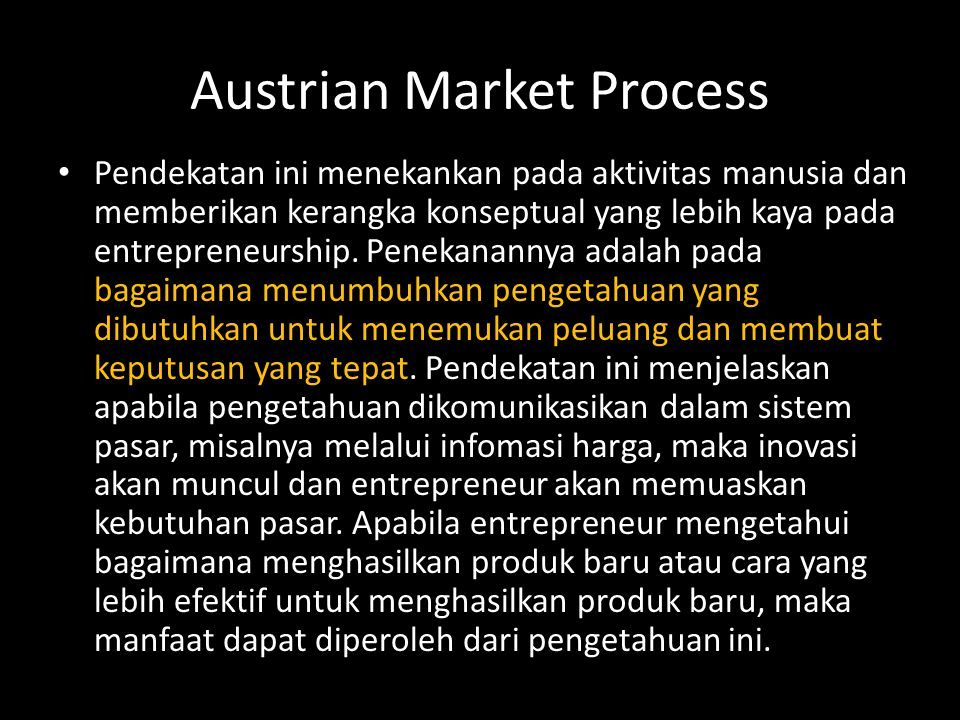 Austrian Market Process