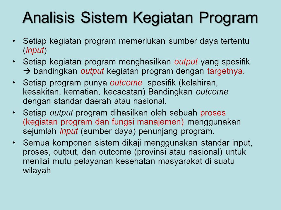 Analisis Sistem Kegiatan Program