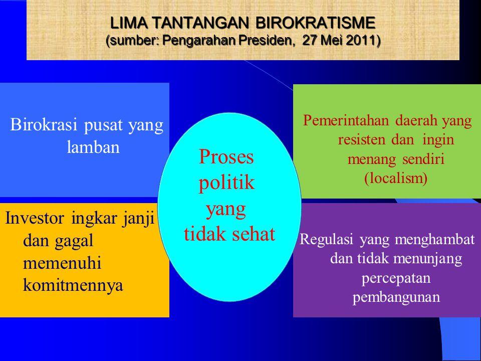 LIMA TANTANGAN BIROKRATISME (sumber: Pengarahan Presiden, 27 Mei 2011)