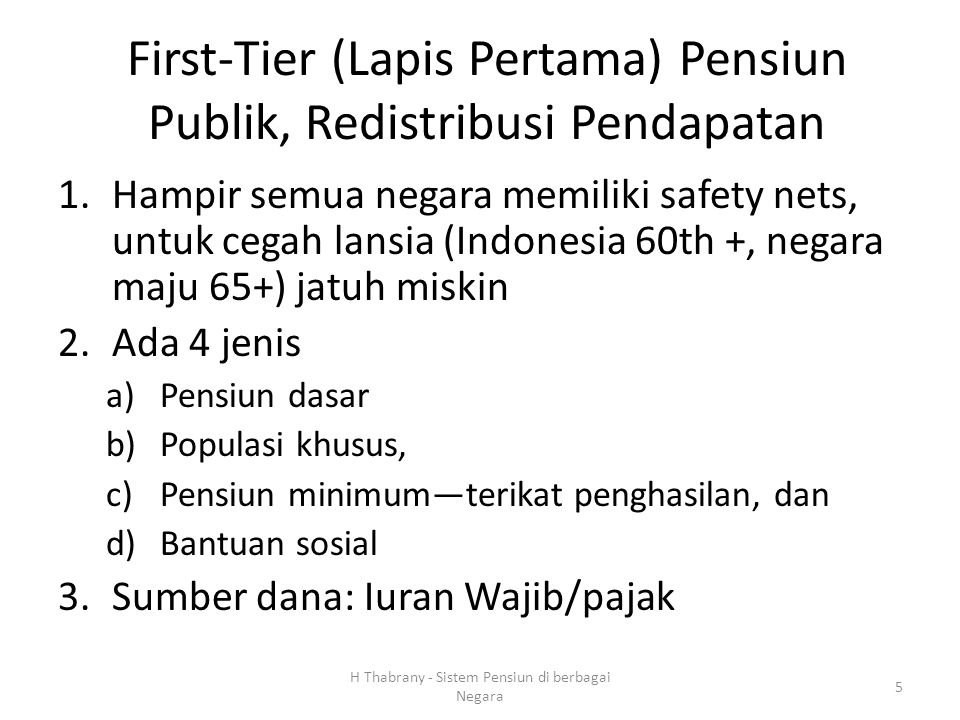 First-Tier (Lapis Pertama) Pensiun Publik, Redistribusi Pendapatan