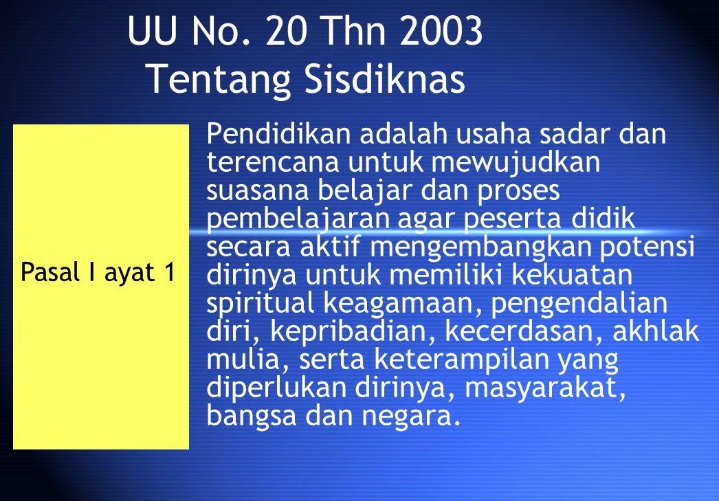 UU No. 20 Thn 2003 Tentang Sisdiknas