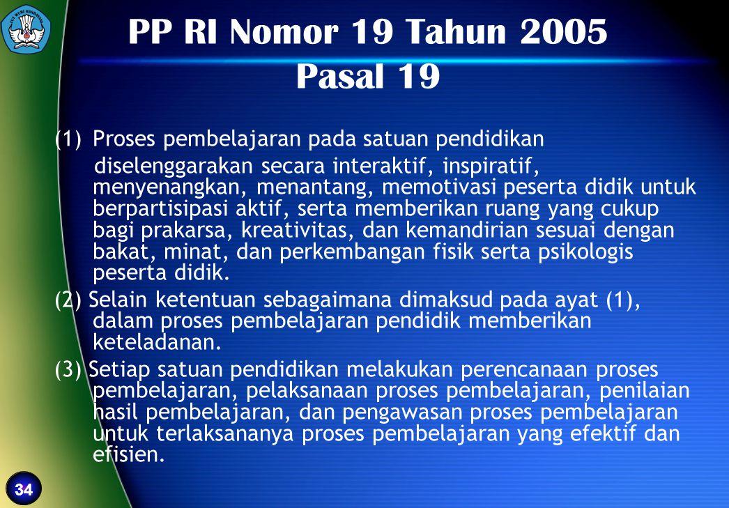 PP RI Nomor 19 Tahun 2005 Pasal 19 Proses pembelajaran pada satuan pendidikan.
