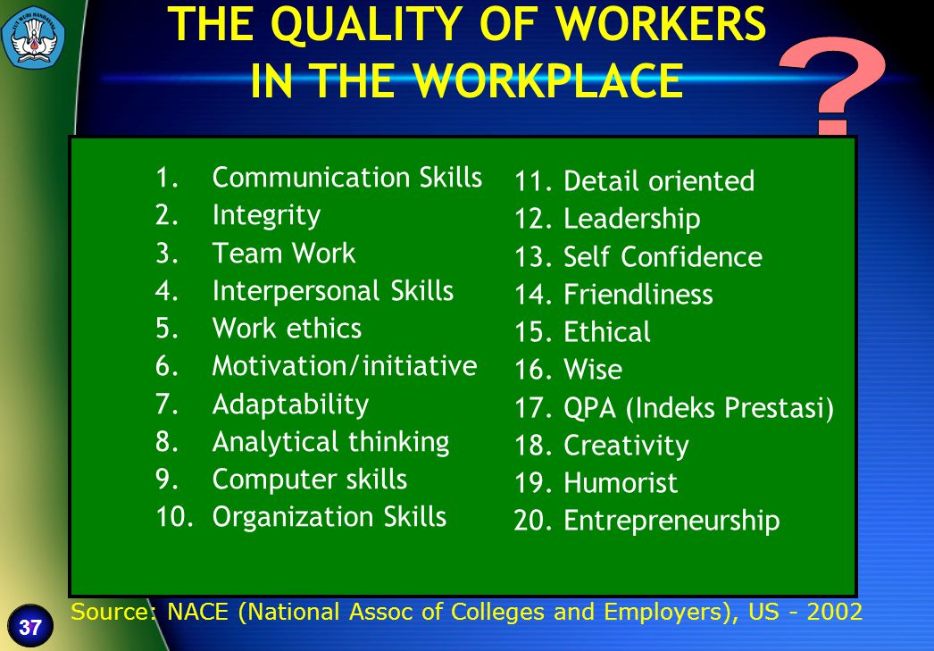 THE QUALITY OF WORKERS IN THE WORKPLACE