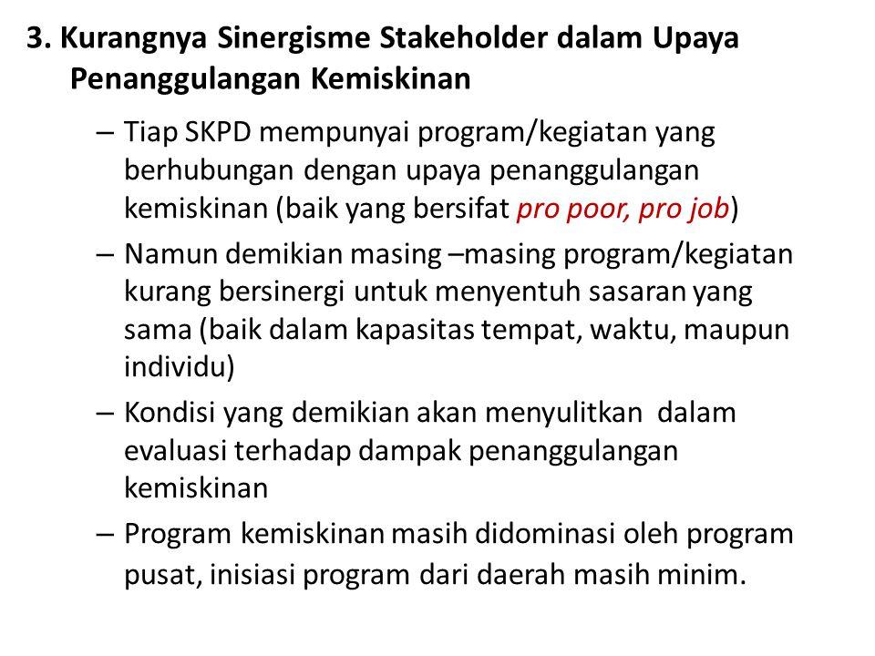 3. Kurangnya Sinergisme Stakeholder dalam Upaya Penanggulangan Kemiskinan