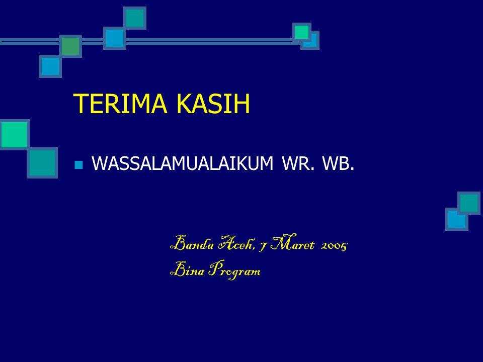 TERIMA KASIH WASSALAMUALAIKUM WR. WB. Banda Aceh, 7 Maret 2005