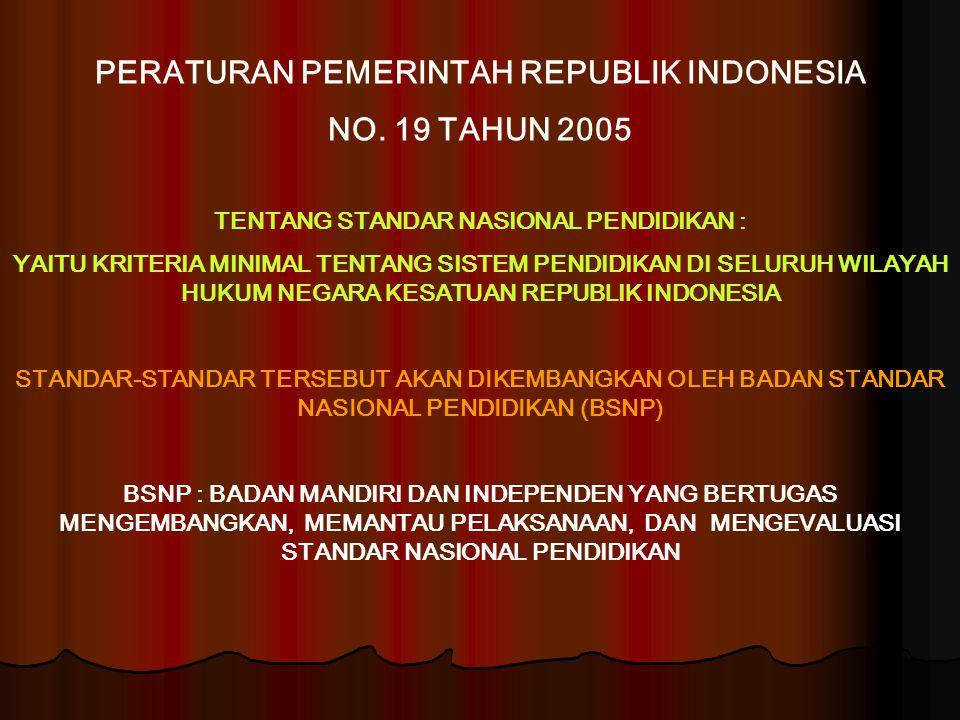 PERATURAN PEMERINTAH REPUBLIK INDONESIA NO. 19 TAHUN 2005