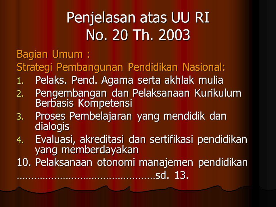 Penjelasan atas UU RI No. 20 Th. 2003