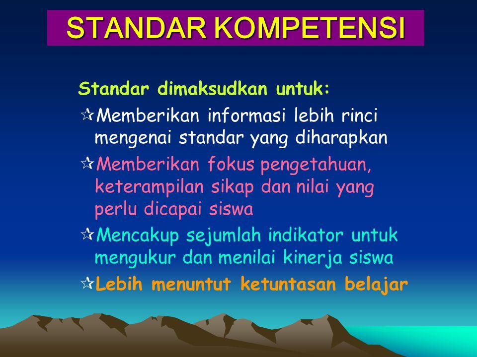 STANDAR KOMPETENSI Standar dimaksudkan untuk: Memberikan informasi lebih rinci mengenai standar yang diharapkan.