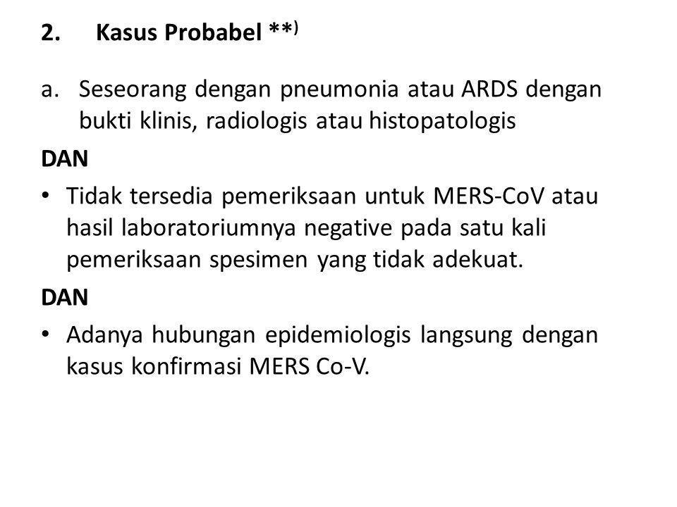 Kasus Probabel **) Seseorang dengan pneumonia atau ARDS dengan bukti klinis, radiologis atau histopatologis.