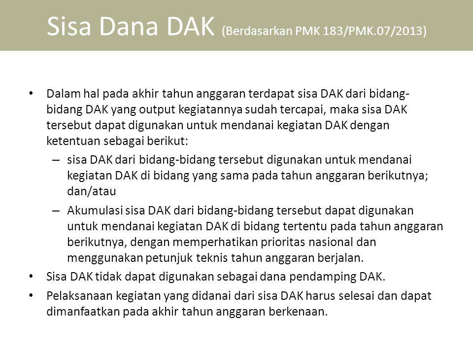 Sisa Dana DAK (Berdasarkan PMK 183/PMK.07/2013)
