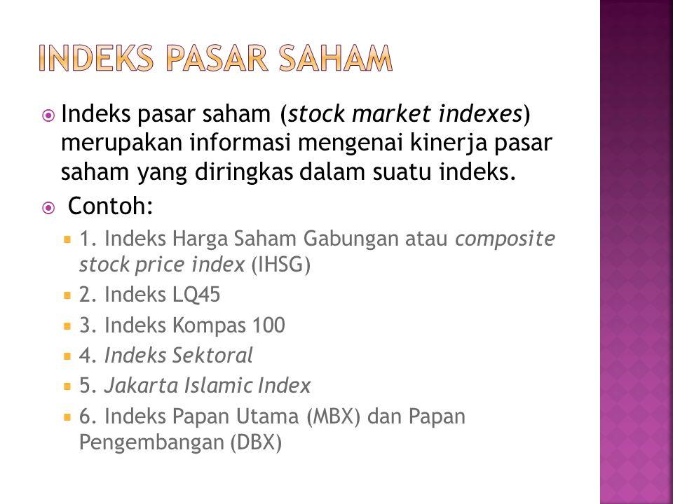 INDEKS PASAR SAHAM Indeks pasar saham (stock market indexes) merupakan informasi mengenai kinerja pasar saham yang diringkas dalam suatu indeks.