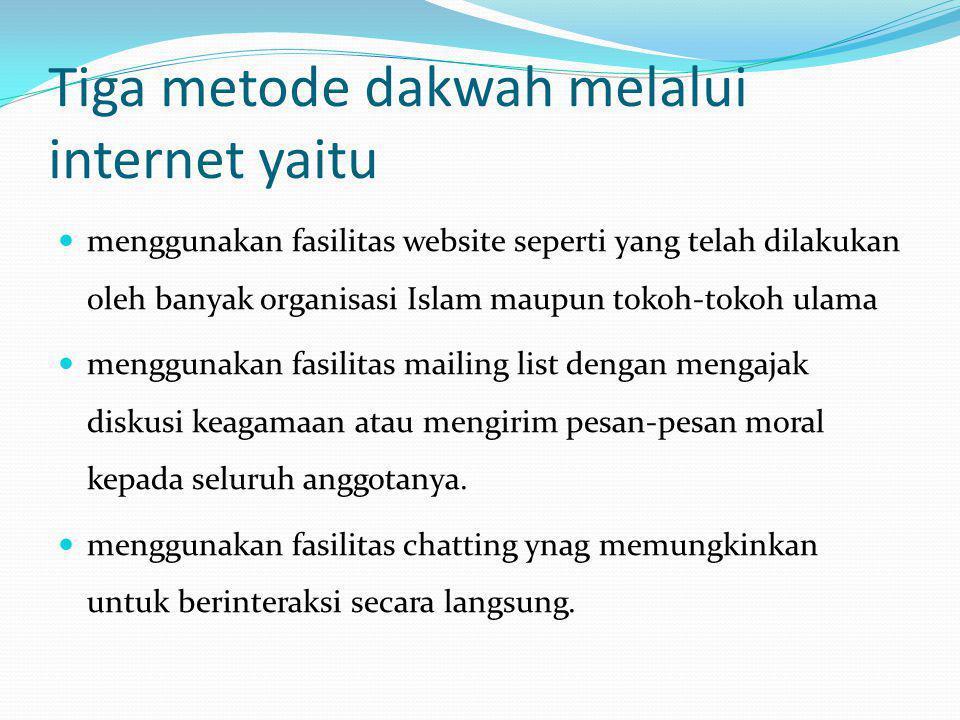 Tiga metode dakwah melalui internet yaitu
