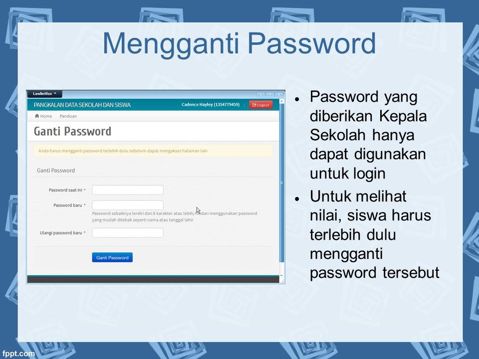 Mengganti Password Password yang diberikan Kepala Sekolah hanya dapat digunakan untuk login.