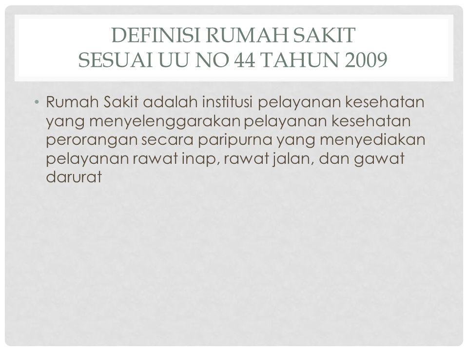 Definisi Rumah Sakit sesuai UU no 44 tahun 2009