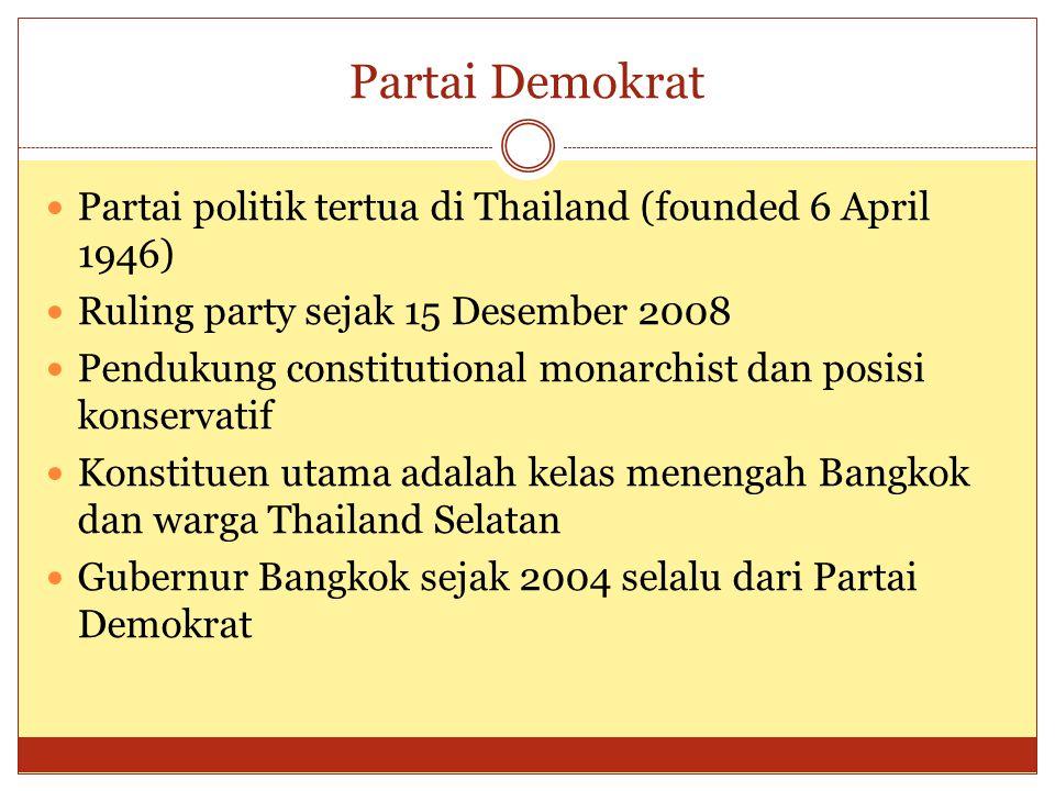 Partai Demokrat Partai politik tertua di Thailand (founded 6 April 1946) Ruling party sejak 15 Desember 2008.