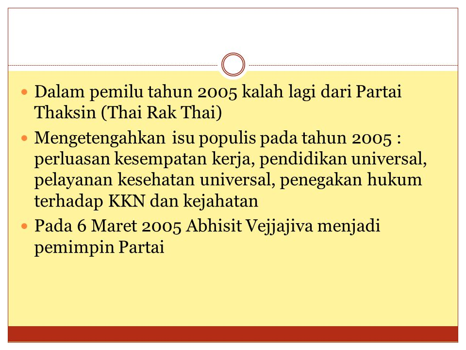 Dalam pemilu tahun 2005 kalah lagi dari Partai Thaksin (Thai Rak Thai)