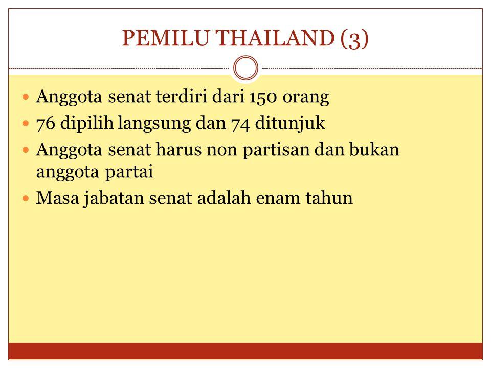 PEMILU THAILAND (3) Anggota senat terdiri dari 150 orang
