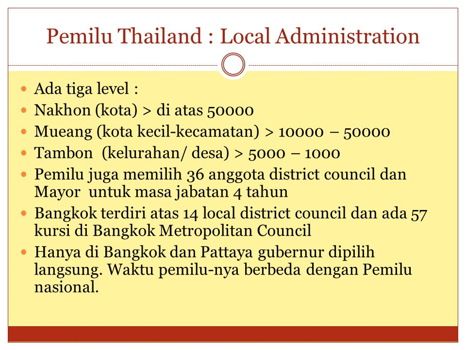 Pemilu Thailand : Local Administration