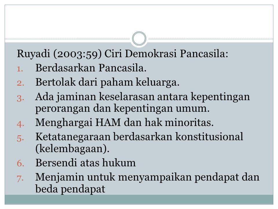 Ruyadi (2003:59) Ciri Demokrasi Pancasila: