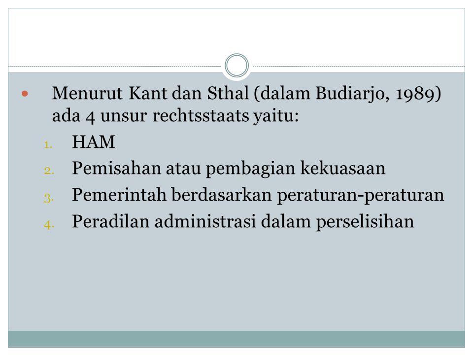 Menurut Kant dan Sthal (dalam Budiarjo, 1989) ada 4 unsur rechtsstaats yaitu: