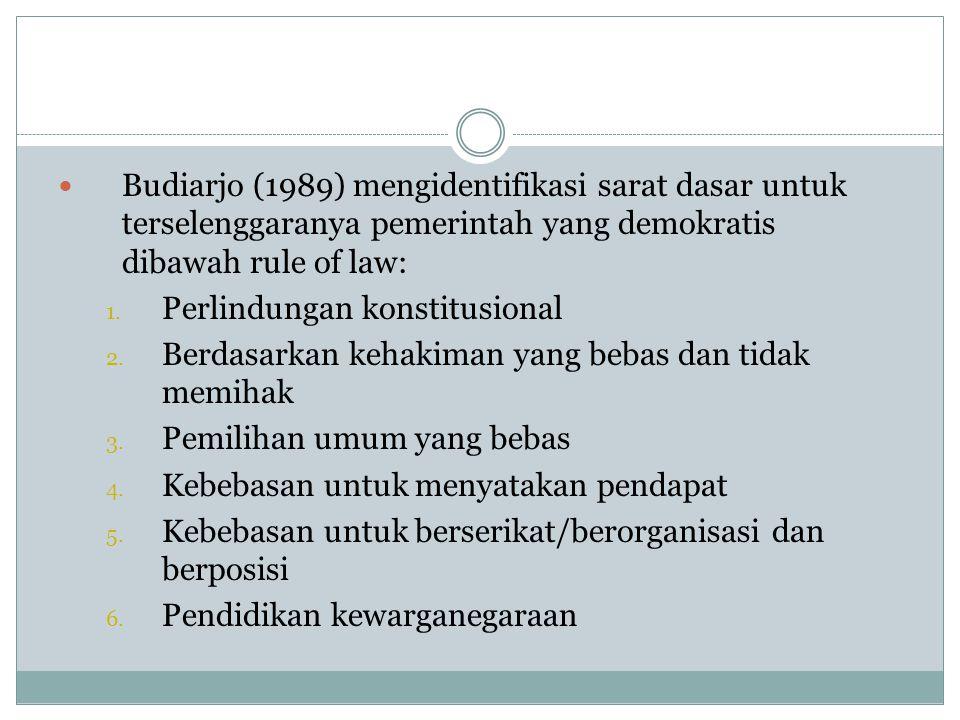 Budiarjo (1989) mengidentifikasi sarat dasar untuk terselenggaranya pemerintah yang demokratis dibawah rule of law:
