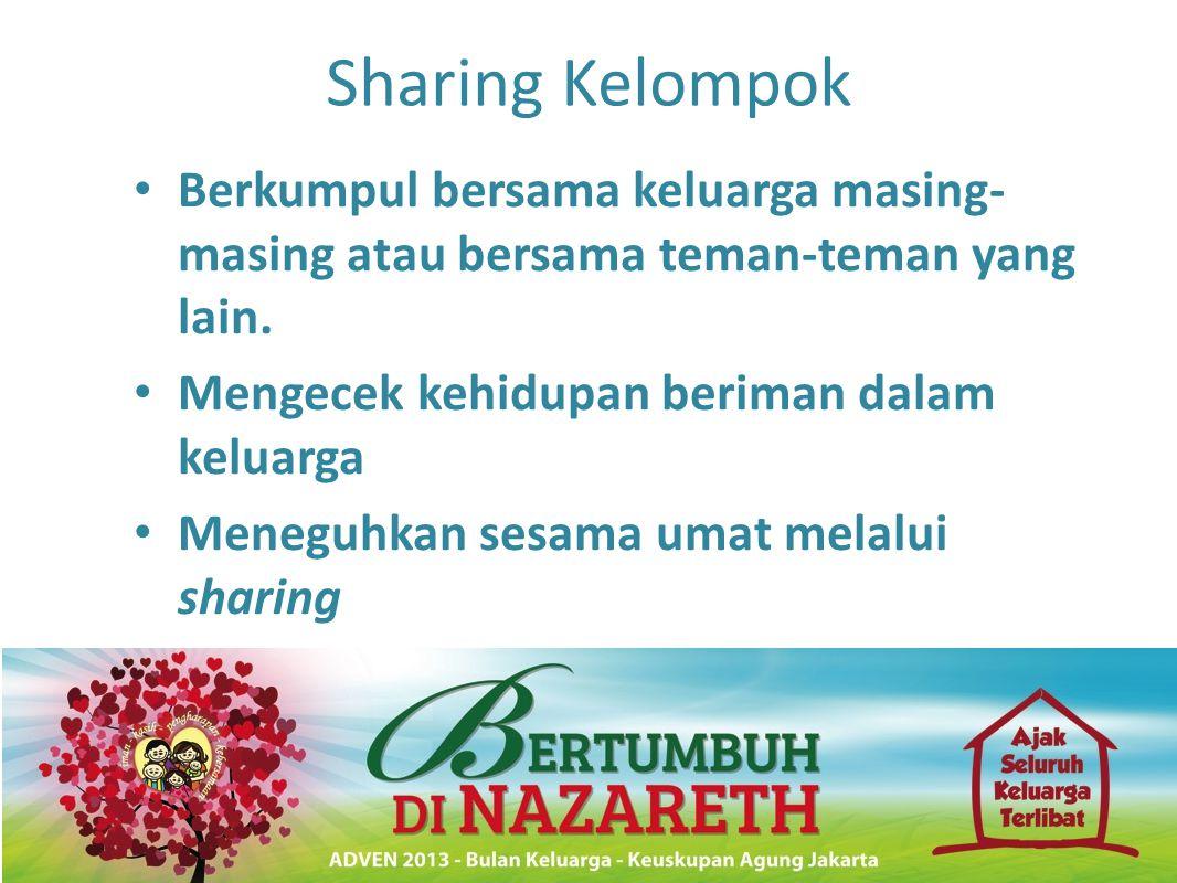 Sharing Kelompok Berkumpul bersama keluarga masing-masing atau bersama teman-teman yang lain. Mengecek kehidupan beriman dalam keluarga.