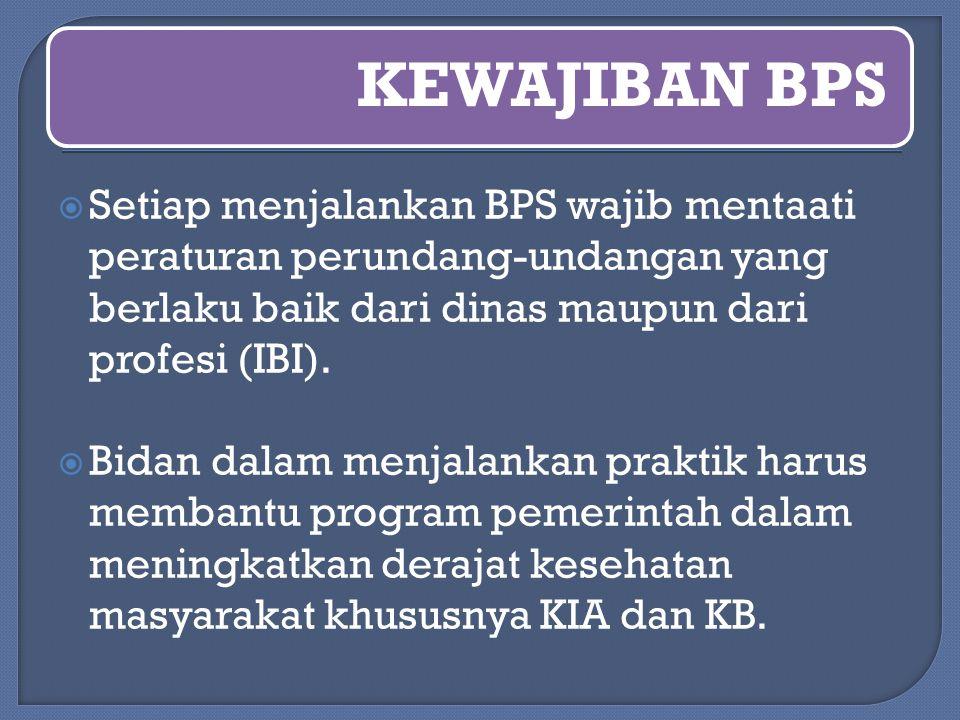 KEWAJIBAN BPS Setiap menjalankan BPS wajib mentaati peraturan perundang-undangan yang berlaku baik dari dinas maupun dari profesi (IBI).