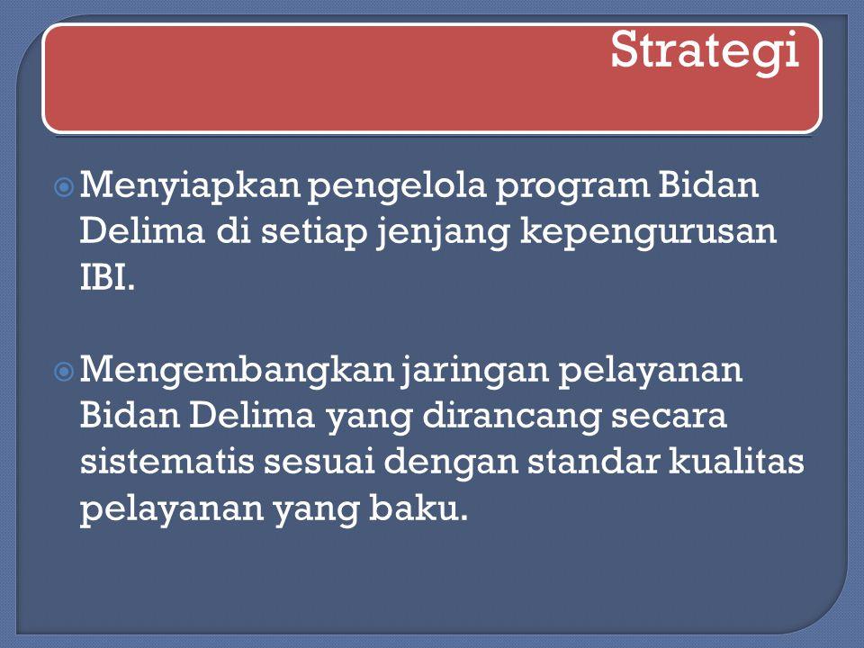 Strategi Menyiapkan pengelola program Bidan Delima di setiap jenjang kepengurusan IBI.