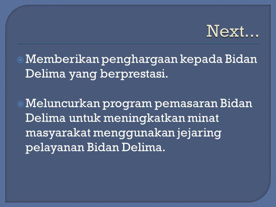 Next... Memberikan penghargaan kepada Bidan Delima yang berprestasi.