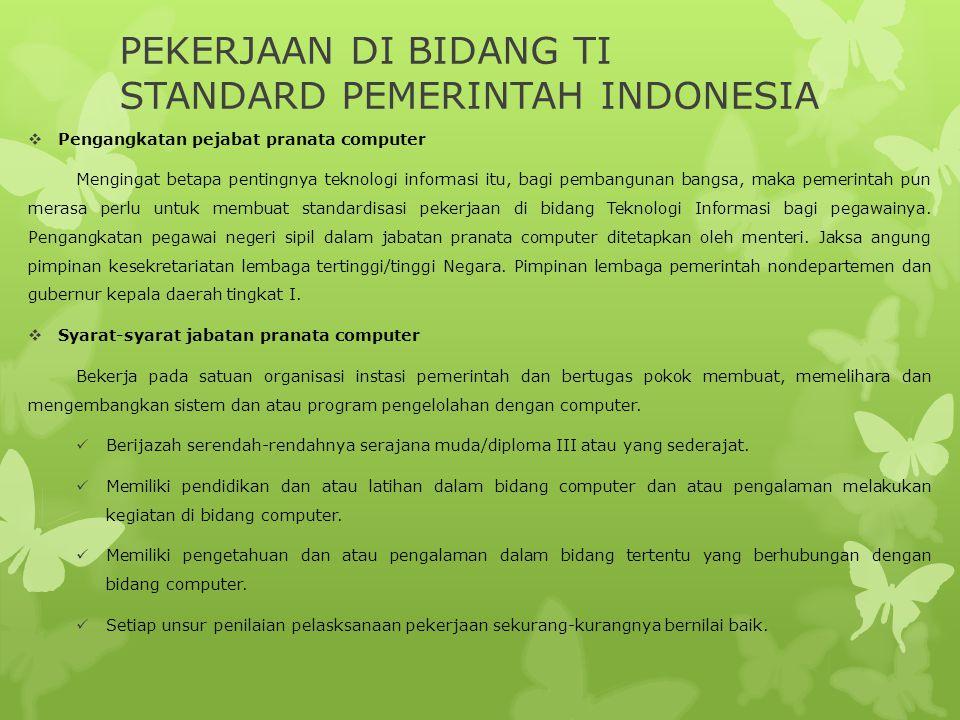 PEKERJAAN DI BIDANG TI STANDARD PEMERINTAH INDONESIA