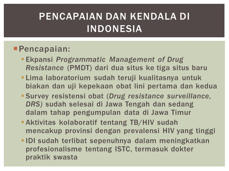 Pencapaian dan kendala di indonesia