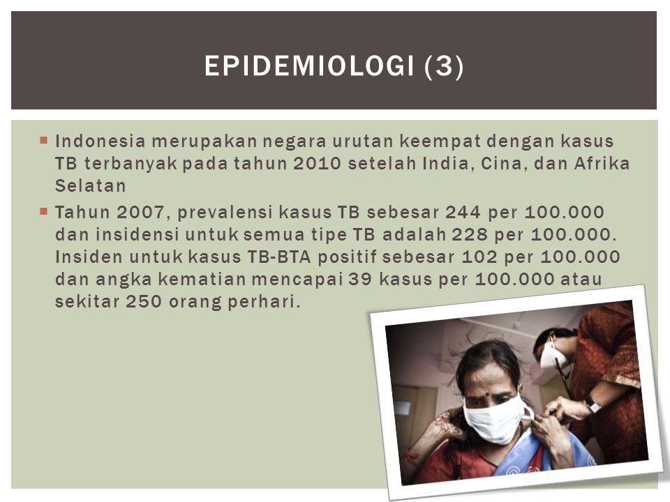 Epidemiologi (3) Indonesia merupakan negara urutan keempat dengan kasus TB terbanyak pada tahun 2010 setelah India, Cina, dan Afrika Selatan.