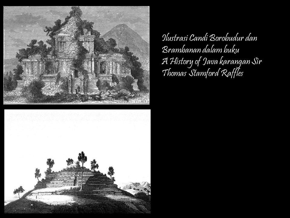 Ilustrasi Candi Borobudur dan Brambanan dalam buku