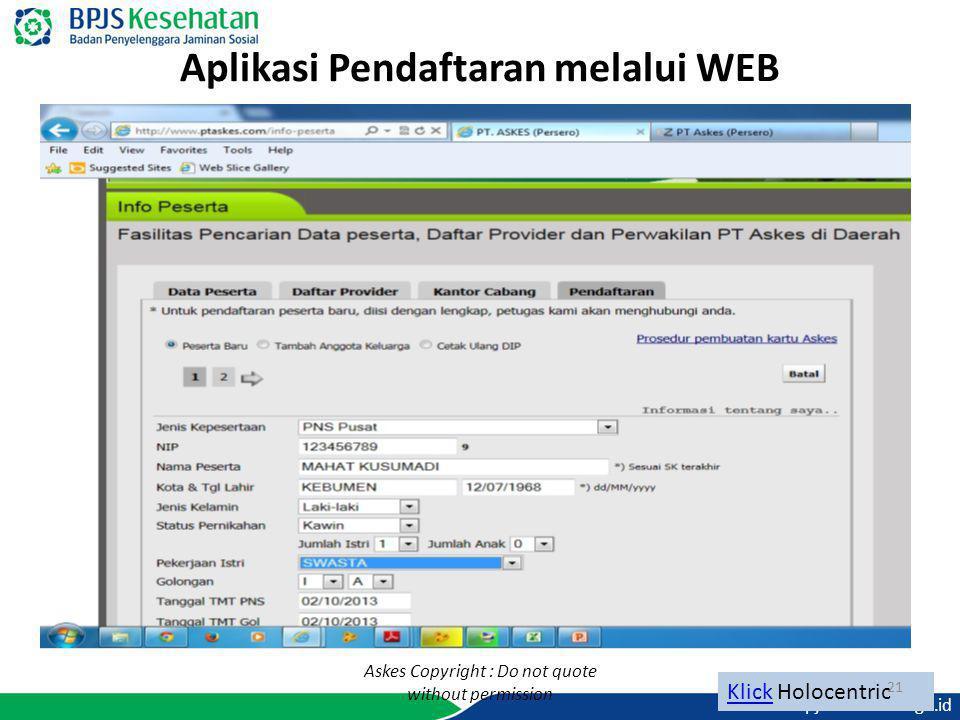 Aplikasi Pendaftaran melalui WEB