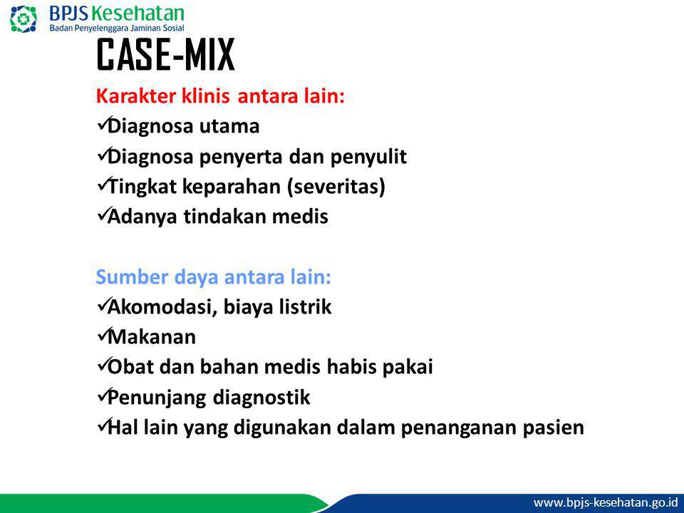 CASE-MIX Karakter klinis antara lain: Diagnosa utama