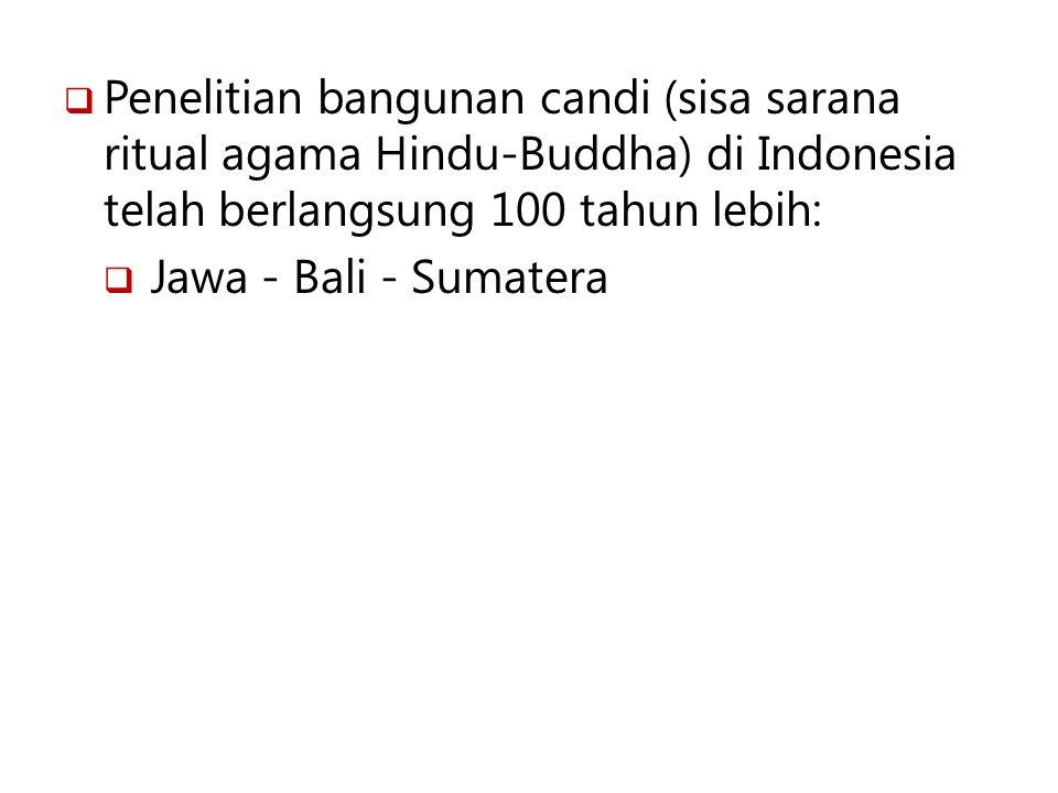 Penelitian bangunan candi (sisa sarana ritual agama Hindu-Buddha) di Indonesia telah berlangsung 100 tahun lebih: