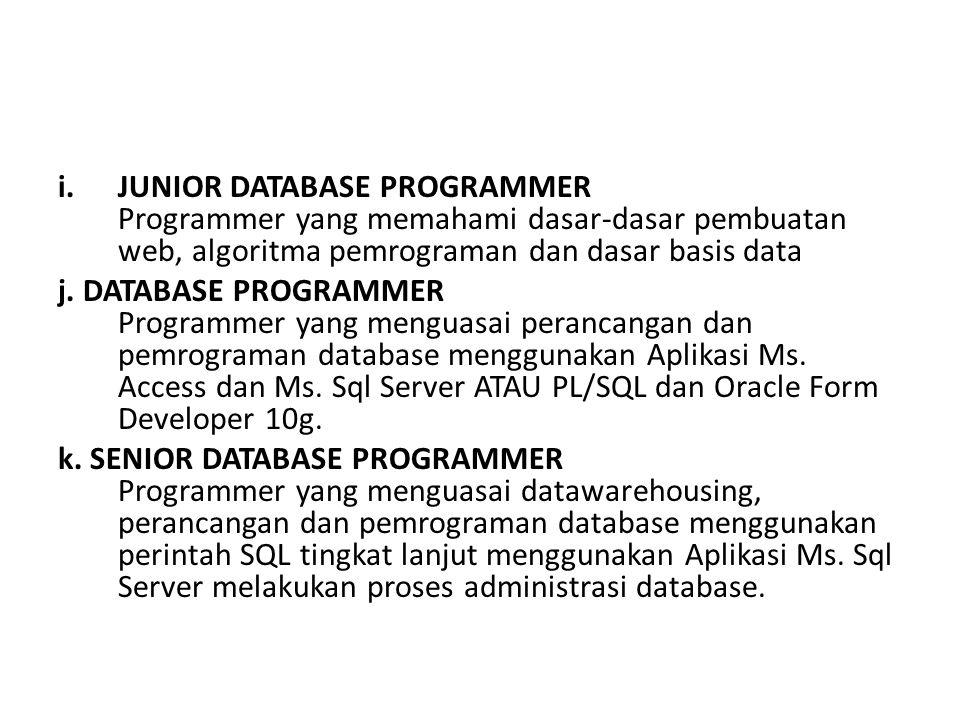 JUNIOR DATABASE PROGRAMMER Programmer yang memahami dasar-dasar pembuatan web, algoritma pemrograman dan dasar basis data