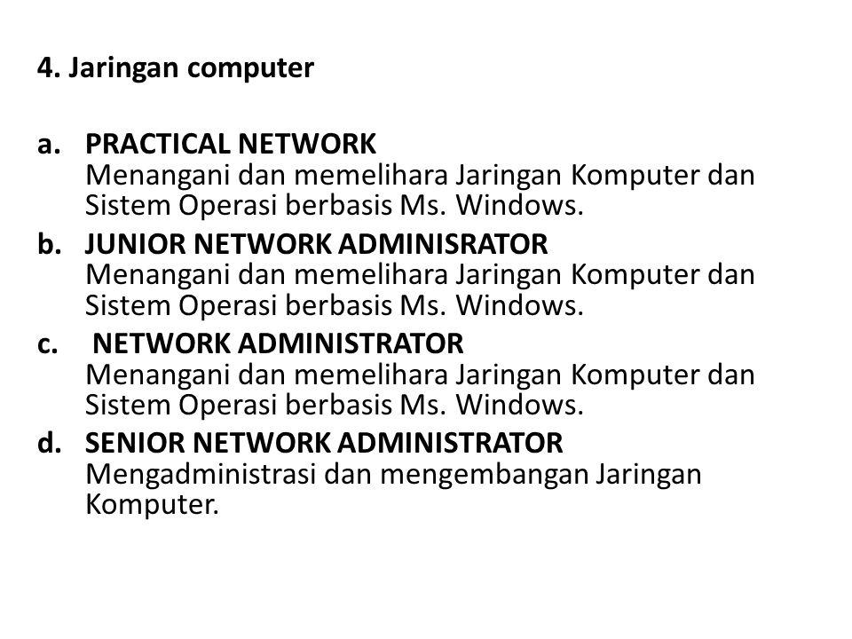 4. Jaringan computer PRACTICAL NETWORK Menangani dan memelihara Jaringan Komputer dan Sistem Operasi berbasis Ms. Windows.