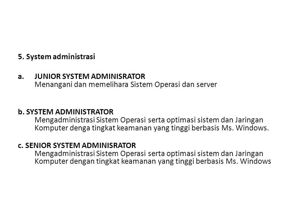 5. System administrasi JUNIOR SYSTEM ADMINISRATOR Menangani dan memelihara Sistem Operasi dan server.