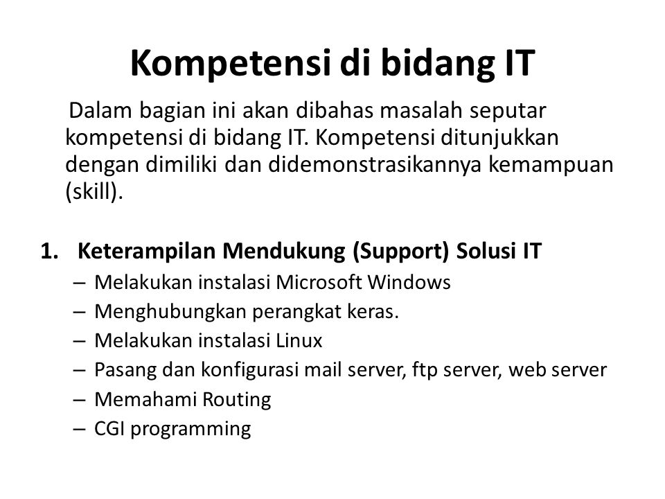Kompetensi di bidang IT
