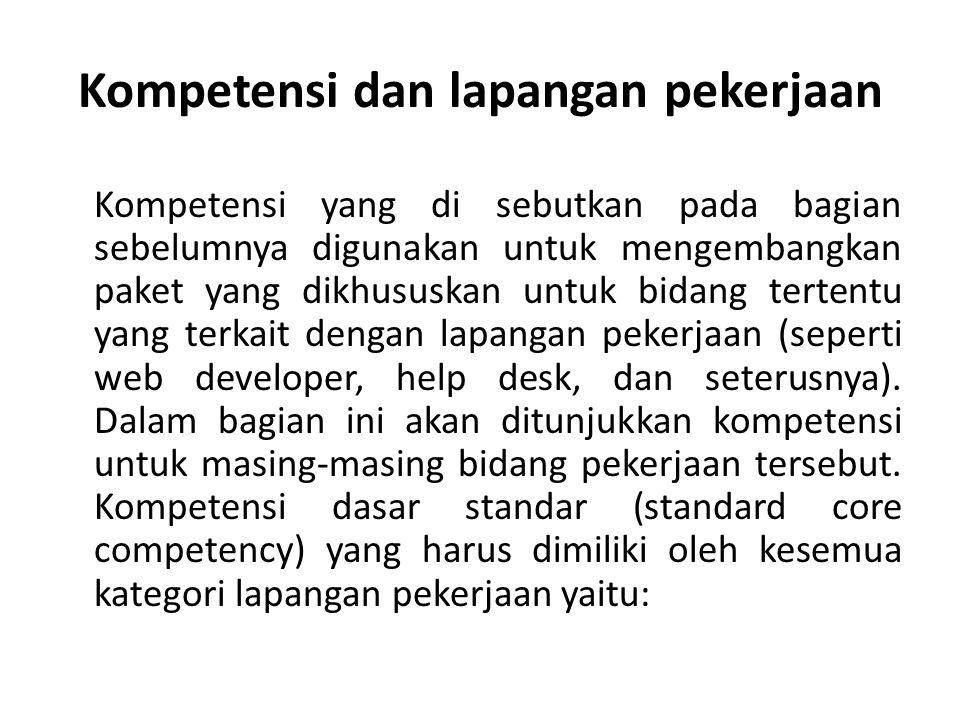 Kompetensi dan lapangan pekerjaan
