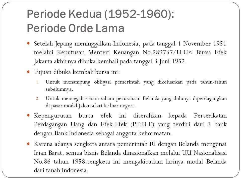 Periode Kedua (1952-1960): Periode Orde Lama