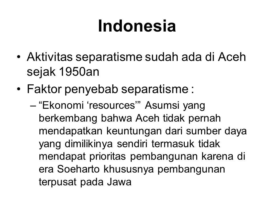 Indonesia Aktivitas separatisme sudah ada di Aceh sejak 1950an