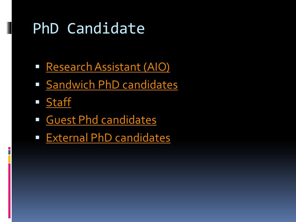 PhD Candidate Research Assistant (AIO) Sandwich PhD candidates Staff