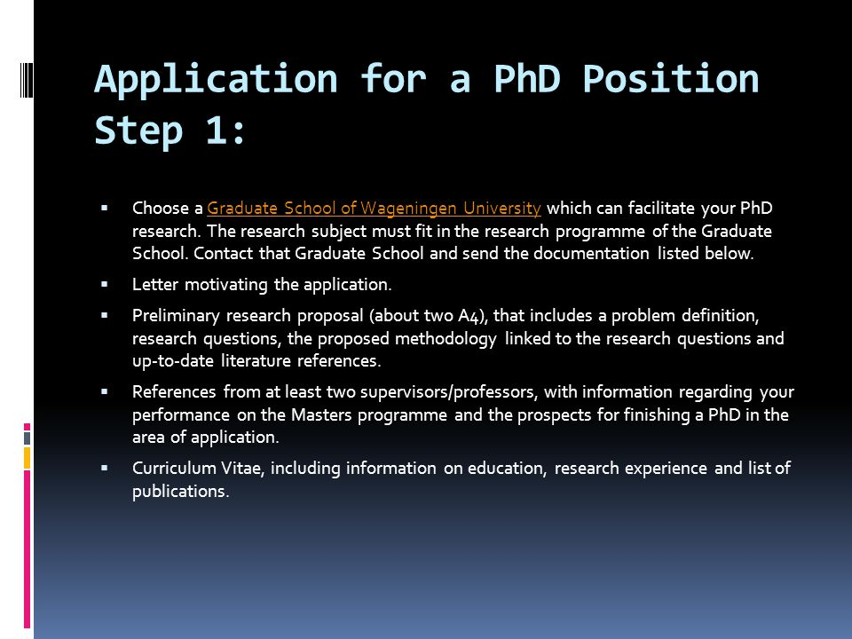 Application for a PhD Position Step 1:
