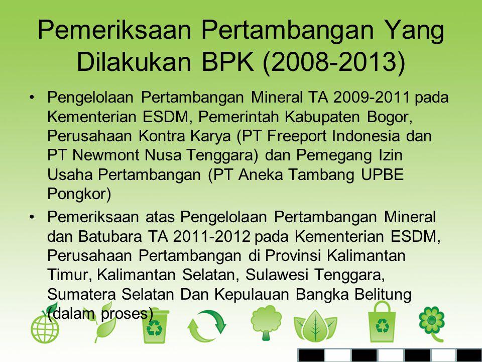 Pemeriksaan Pertambangan Yang Dilakukan BPK (2008-2013)
