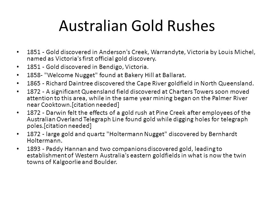 Australian Gold Rushes